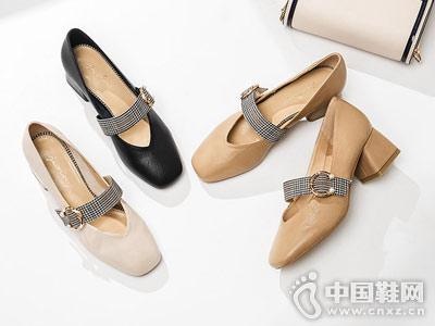新款百搭粗跟女鞋卓诗尼玛丽珍鞋