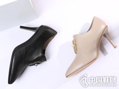 as女鞋2018秋季高跟细跟深口单鞋