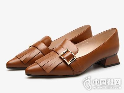fed女鞋单鞋性感尖头浅口低方跟鞋