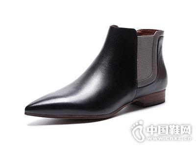 欧情派秋冬短靴女真皮英伦复古踝靴