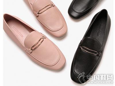 乐福鞋秋冬圆头金属英伦白领丽人单鞋