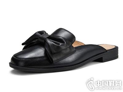 半拖鞋懒人蝴蝶结OZZEG包头真皮穆勒鞋