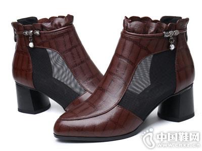 透气单靴欧梦迪女鞋粗跟短靴