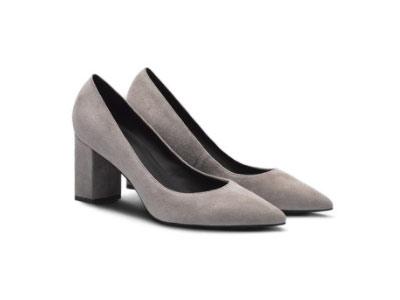 粗跟高跟鞋烫社交时尚尖头浅口单鞋