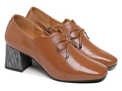 高跟鞋女粗跟方头单鞋古奇天伦小皮鞋