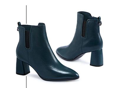 哈森 2018冬季新品欧美深口尖头短筒短靴