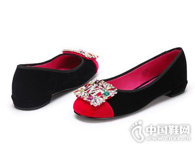 时尚圆头钻扣平跟舞魅浅口单鞋