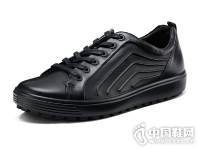 ECCO爱步2018新款黑色时尚低帮鞋