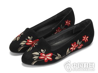 爱柔仕秋季豹纹绣花圆头平底女鞋