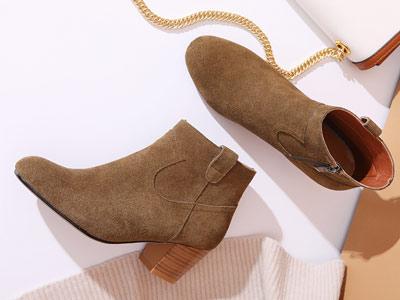 真皮短靴女粗跟欧百特磨砂裸靴