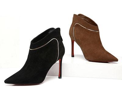 冬季新款尖头真皮高跟万里巴裸靴