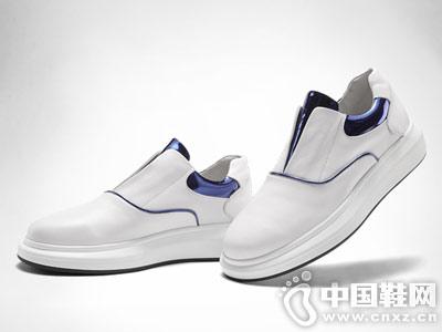 维界港风板鞋白色真皮百搭休闲鞋