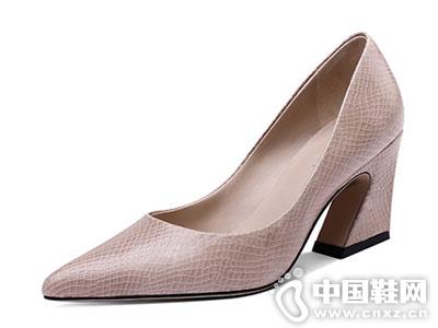 高跟鞋尖头百搭妙龄妙品粗跟单鞋