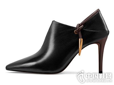 细跟V口短靴女真皮尖头裸靴贝蒂佩琪单靴