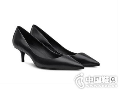 烫社交女鞋2018秋季黑色牛皮细中跟单鞋