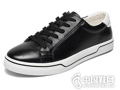 休闲皮鞋白色皮鞋邦霸男鞋