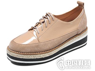 厚底松糕鞋女深口系平底卡美多单鞋