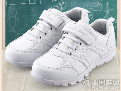 四季熊2018春秋新款儿童白色运动鞋