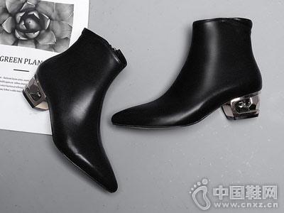 马丁靴女秋冬2018新款欧情派真皮裸靴