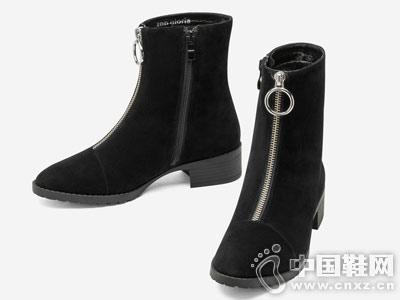 2018新款冬季topgloria汤普葛罗粗跟短靴