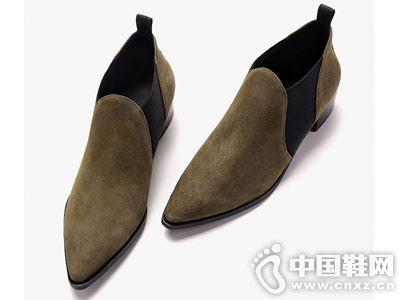 切尔西靴2018秋冬新款白领丽人粗跟短靴