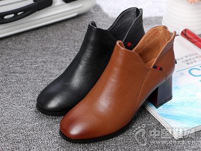 芭妮2018新款女鞋方头粗跟皮鞋