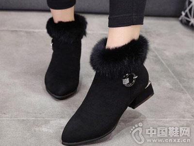 新款加厚短靴 时尚翻毛领口