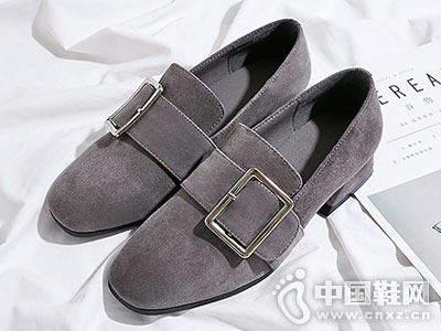 普兰妮新款秋季粗跟单鞋一脚蹬懒人鞋