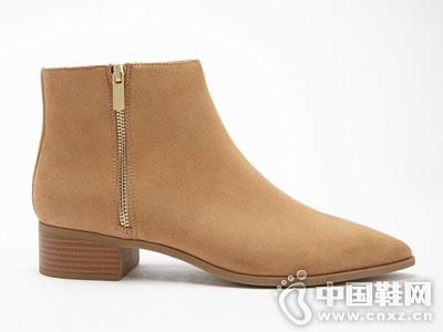 潮流粗跟平底拉链Forever21及踝短靴