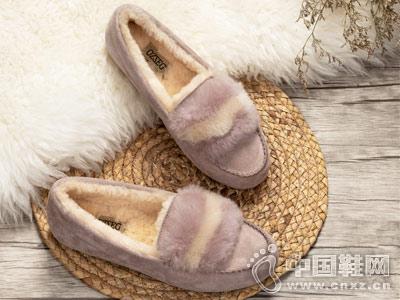 OZZEG豆豆鞋女2018新款秋冬一脚蹬毛毛鞋