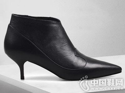 尖头短靴2018秋冬新款翡丽玫瑰裸靴