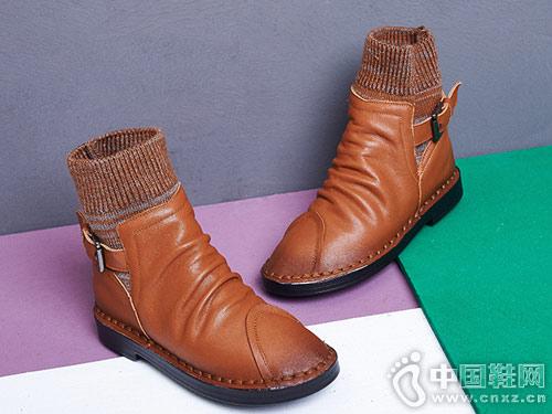 秋冬新款毛线口安丽尼卡短筒短靴