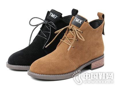 天美意Teenmix2018冬羊绒皮靴