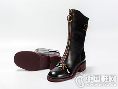 黑色圆头高筒靴