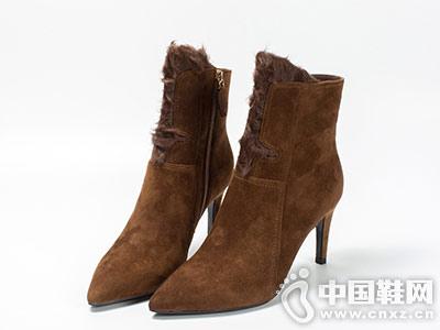 龙足黄色牛绒高跟女鞋