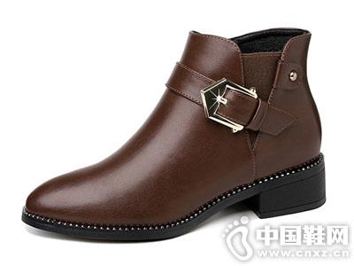 小跟短靴女2018新款古奇天伦马丁靴