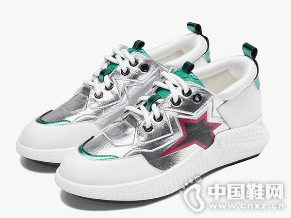 卡美多2018秋季新款真皮拼色小白鞋