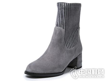 2018新款羊绒皮弹力布伊伴高跟短靴