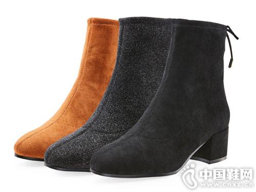卡迪娜2018冬新款拼接粗跟小短靴