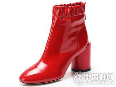 时尚优雅圆头高粗跟VME舞魅女短靴
