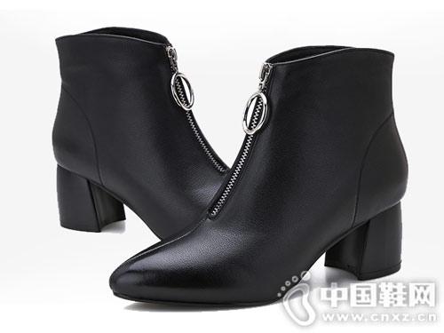 靴子女2018新款真皮高跟马丁靴
