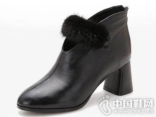 漫沙洛靴子女秋冬2018新款粗跟裸靴