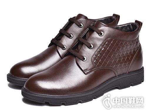 金猴男士皮鞋冬季系带新款休闲男棉