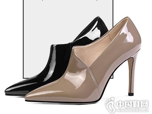妙龄妙品漆皮单靴短靴女2018秋冬新款