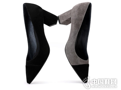 新款时尚真皮拼色尖头OE欧意休闲鞋