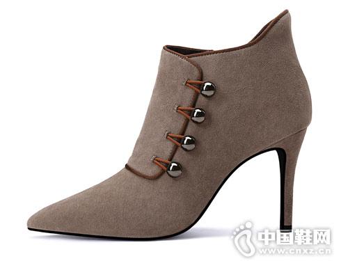 小高跟短靴女2018新款贝蒂佩琪踝靴