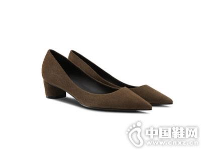 烫社交女鞋2018秋冬驼色时尚尖头单鞋