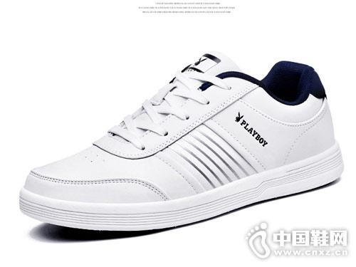 花花公子男士韩版潮流黑白色时尚板鞋