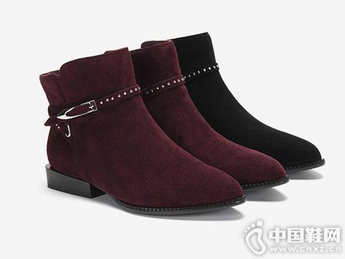 2018 Aee爱意冬季时尚薄绒小踝靴