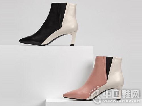 2018冬季新品ONDUL圆漾性感尖头撞色踝靴